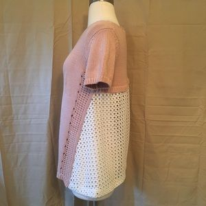 Anthropologie Sweaters - Anthropologie Moth Pink Crochet Lace Back Sweater